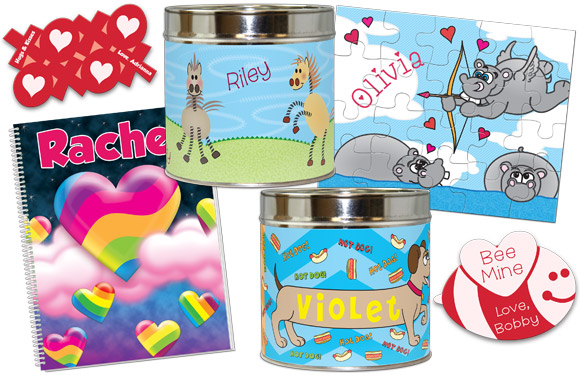 Valentines cards, notebook, and puzzles, plus new piggy bank designs